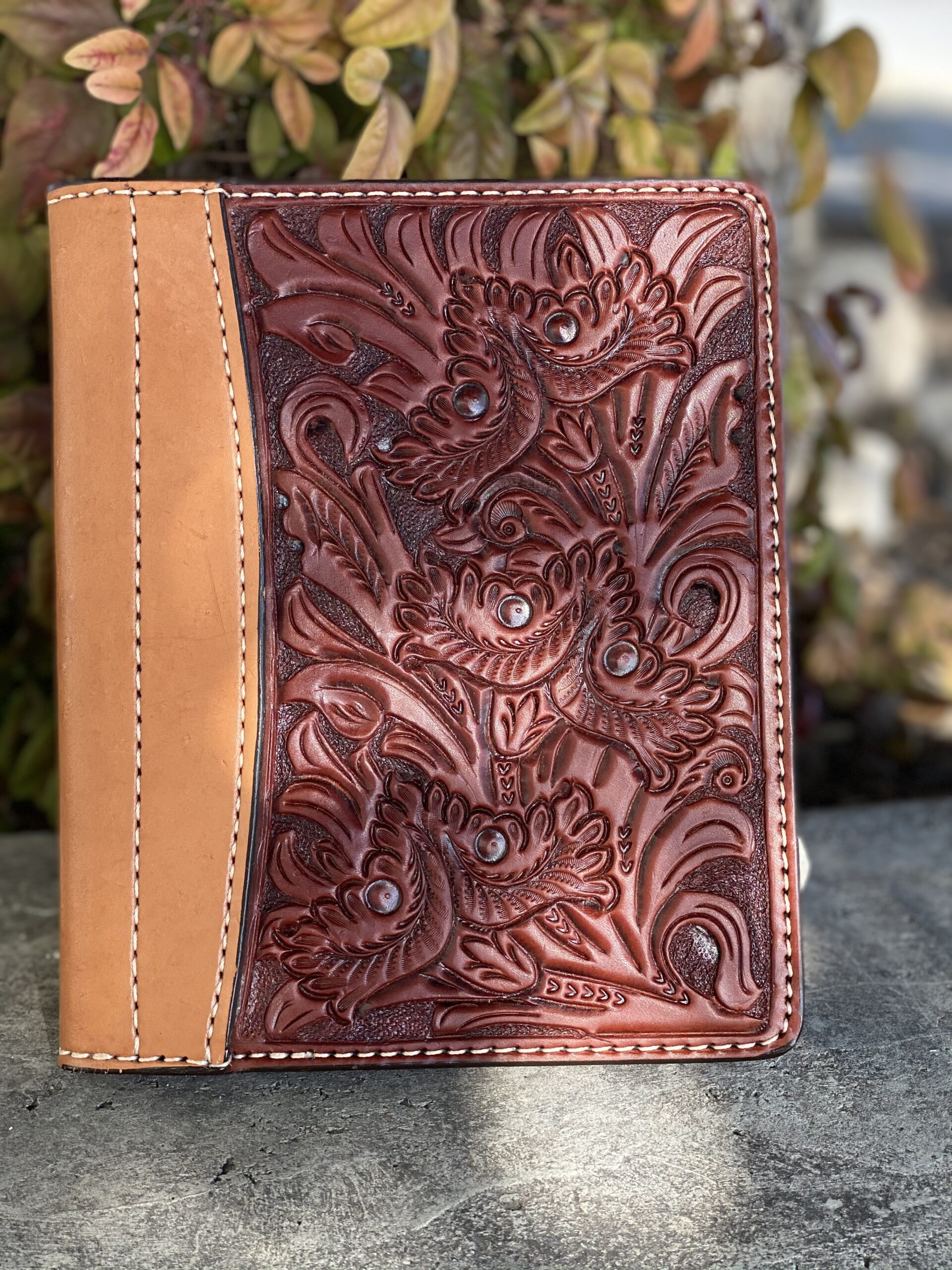 Toast colonial floral tooled Tooled Mini Portfolio/Planner