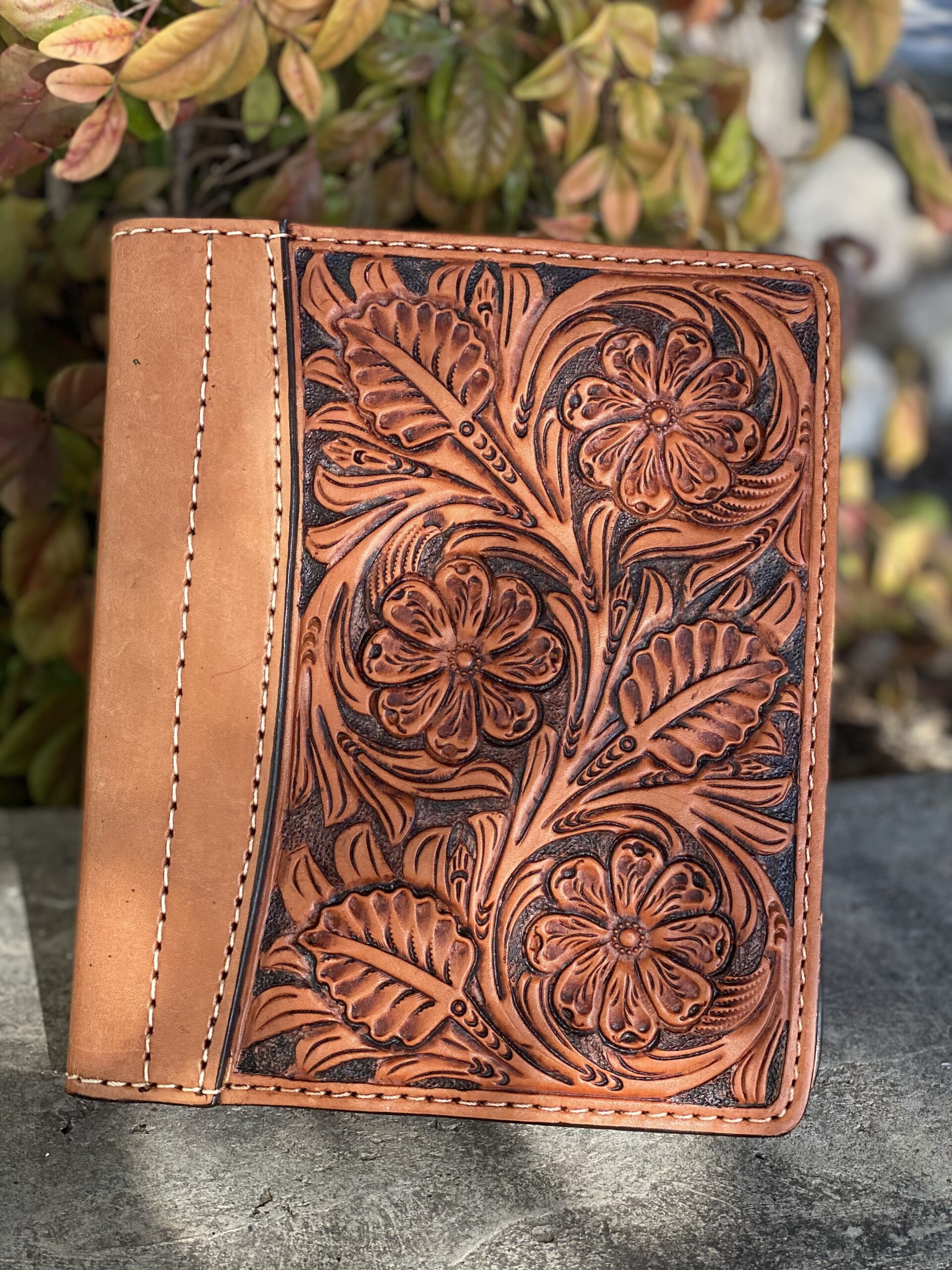Golden Antiqued floral tooled Tooled Mini Portfolio/Planner