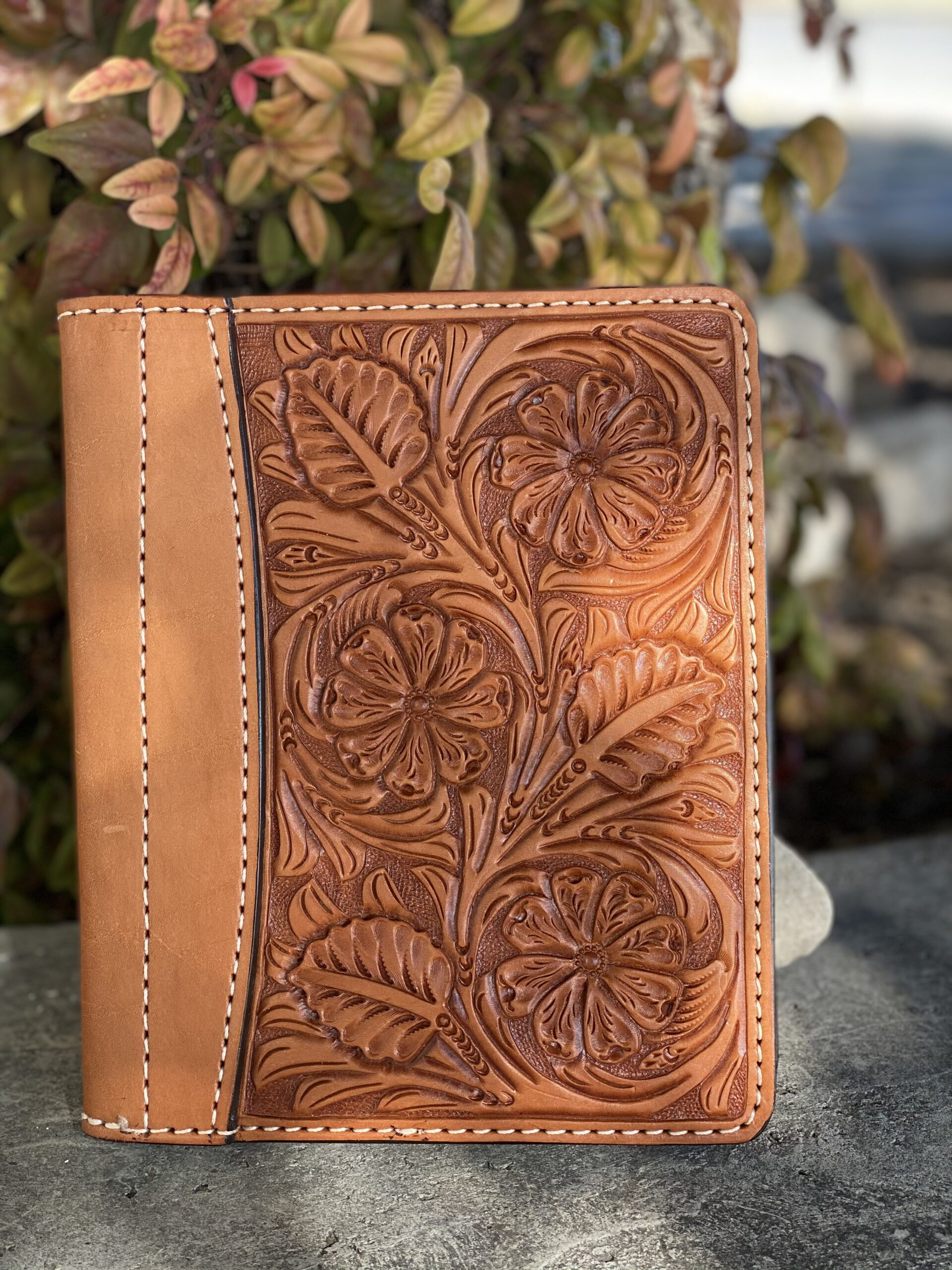 Golden floral tooled Tooled Mini Portfolio/Planner