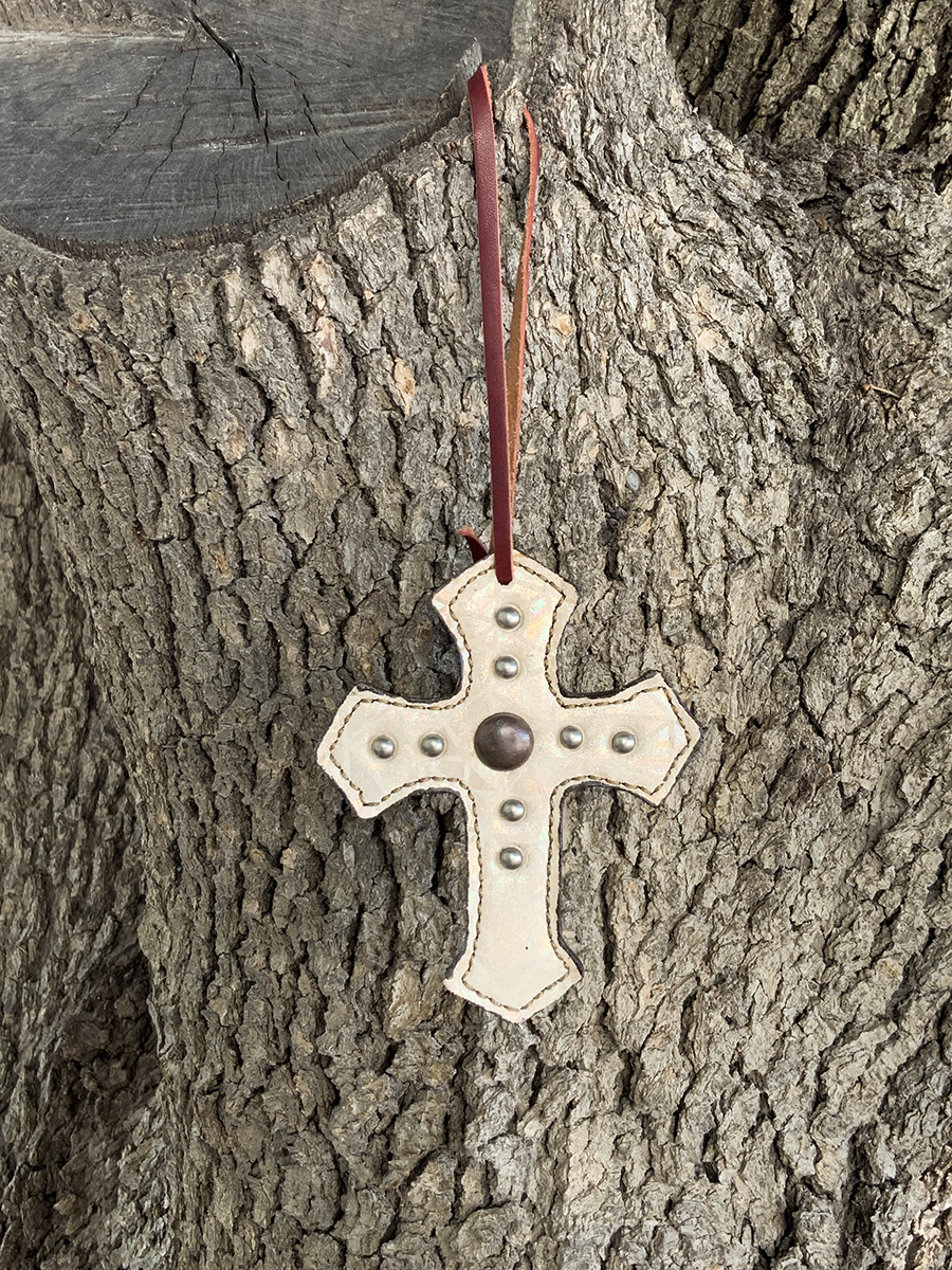108-IAIR Cross ivory air overlay w/ copper antique & pewter spots