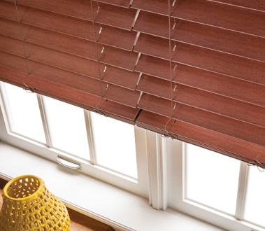 Engineered to withstand excess moisture, Graber Lake Forest® Faux Wood Blinds and Traditions® Composite Blinds are durable and easy to clean, a practical alternative to hardwoods.