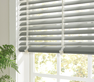 "For utmost versatility, privacy, and light control, Graber Horizontal Blinds are the gold standard with a wide selection of color and design choices. Graber 2"" Vinyl Horizontal Blinds perfectly match our Vinyl Vertical Blinds for cohesive room décor."