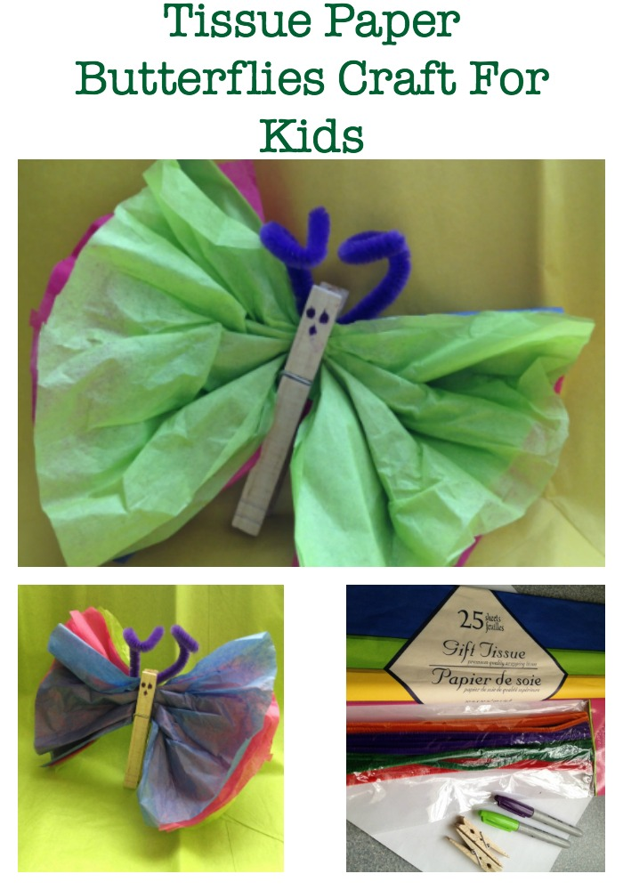 Tissue Paper Butterflies craft for kids