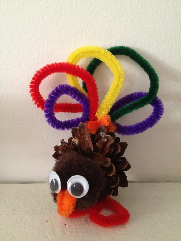 Thanksgiving Craft for Kids: Pine Cone Turkey Craft