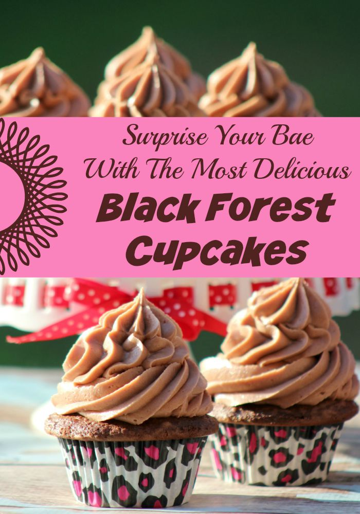 It is time to celebrate with cake! Make the most delicious Black Forest Cupcakes full of chocolate and cherry flavors to blow your Bae or best friend away!