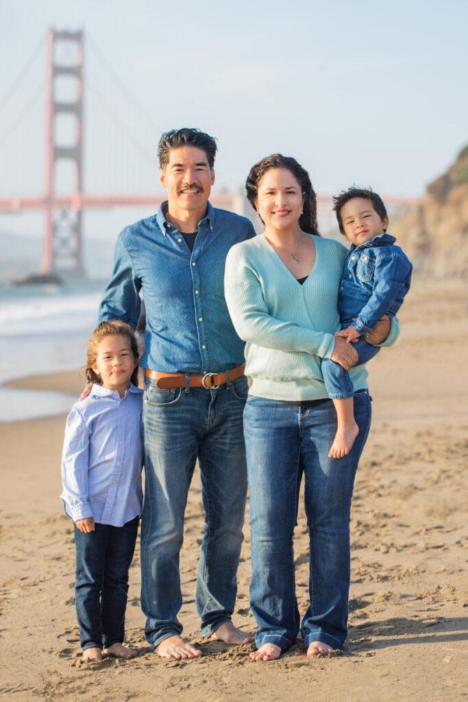family portrait at Baker Beach