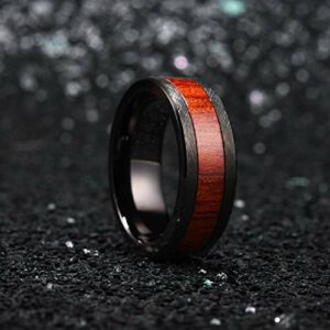 King Will 8mm Black Tungsten Carbide Ring Surface Inlaid with Red Wood Comfort Fit 10.5