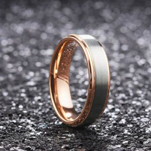 King Will Duo Unisex 6mm 18k Rose Gold Plated Tungsten Carbide Ring Two Tone Wedding Band 10