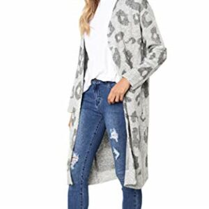 Angashion Women's Long Sleeves Leopard Print Knitting Cardigan Open Front Warm Sweater Outwear Coats with Pocket Gray M