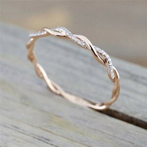 Duan Twist Ring for Women Fashion 14K Solid Rose Gold Stack Twisted Ring Wedding Party Women Jewelry Size(6-10) (US Code 6)
