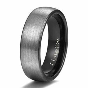 Shuremaster 6mm Black Tungsten Wedding Ring Band Men Women Matte Brushed Engraved I Love You Size 9
