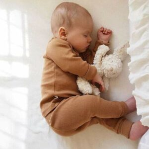 Baby Boy Girl Solid Color Clothes Tops with Pants Set 2 Piece Organic Cotton Fall Winter Outfits(12-18M) Yellow Brown
