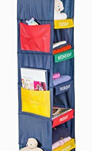 Daily Activity Kids Closet Organizer -11″ X 11″ X 48″- Prepare and Organize a Week's Worth of Your Children's Clothing, Shoes and After School Activities. Hangs Directly on The Closet Rod.