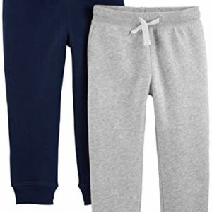 Simple Joys by Carter's Boys' Toddler 2-Pack Pull on Fleece Pants, Gray/Navy, 3T