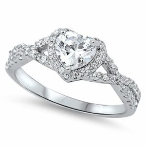 Heart Clear CZ Halo Promise Ring .925 Sterling Silver Infinity Band Size 7
