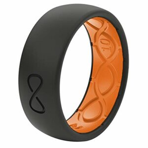 Groove Life – Silicone Ring for Men and Women Wedding or Engagement Rubber Band with Lifetime Coverage, Breathable Grooves, Comfort Fit, and Durability – Original Solid Midnight Black / Orange 09