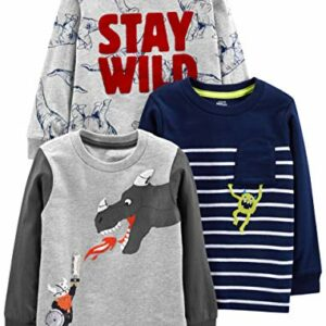 Simple Joys by Carter's Boys' Toddler 3-Pack Graphic Long-Sleeve Tees, Dino/Monster/Dragon, 5T