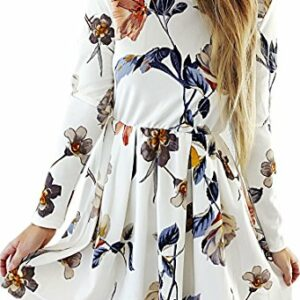 Angashion Womens Dresses Casual Floral Print Long Sleeve Swing Pleated Skater A Line Mini Dress,White,X-Large