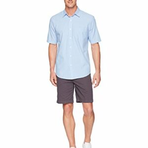 Amazon Essentials Men's Regular-Fit Short-Sleeve Casual Poplin Shirt, blue stripe, Large