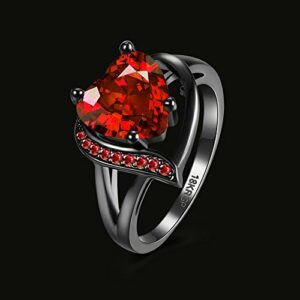 Xiaodou Black Gun Ruby Cubic-Zirconia Ring Gold Plated Promise Band Ring Wedding Red Heart Cubic Zirconia Rings Black Gold Rings for Women (6)