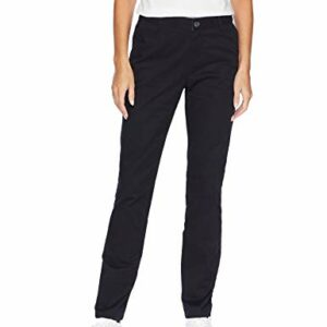 Amazon Essentials Women's Straight-Fit Stretch Twill Chino Pant, Black, 14 Regular
