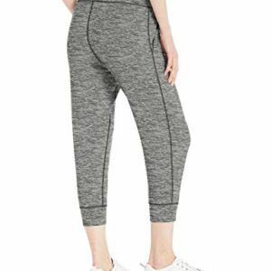 Amazon Essentials Women's Brushed Tech Stretch Crop Jogger Pant, Dark Grey Spacedye, Medium