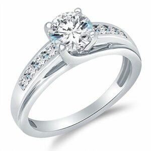 Size – 7 – Solid 925 Sterling Silver Solitaire Round CZ Cubic Zirconia Engagement Ring 1.5ct