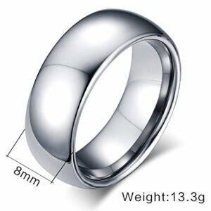 VNOX Custom Engraving 8MM Width Tungsten Carbide Wedding Band Promise Engagement Ring for Men Women,Silver,Size 7