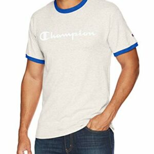 Champion Men's Classic Jersey Graphic Ringer T-Shirt, Oatmeal Heather/surf The Web, X-Large