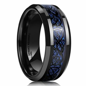 King Will Dragon Men's 8mm Blue Carbon Fiber Black Celtic Dragon Tungsten Carbide Ring Wedding Band(8)