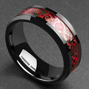 King Will Men's 8mm Red Carbon Fiber Black Celtic Dragon Tungsten Carbide Ring Comfort Fit Wedding Band(11)