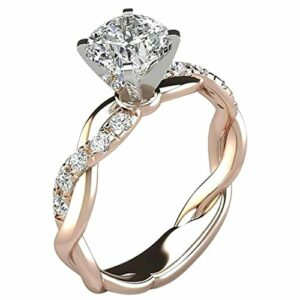 WoCoo Women Ring Bridal Cubic Zirconia Diamond Engagement Promise Rings Jewelry Gift (7, Rose Gold)
