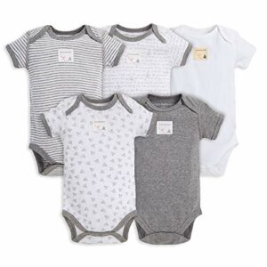Burt's Bees Baby Baby, 5-Pack Long Short Sleeve One-Piece Bodysuits, Organic Cotton, Heather Grey Prints, 0-3 Months