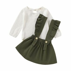 Baby Girl Linen Suspender Skirt Set Toddler Girls Long Sleeve Shirts Ruffled Dress Clothes (Army Green, 3-4 Years)