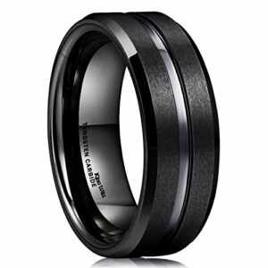 King Will Classic Men Black Tungsten Carbide 8mm Polished Matte Brushed Finish Center Wedding Band Ring 8.5