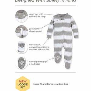Burt's Bees Baby – Unisex Sleep & Play, Organic Pajamas, NB – 9M One-Piece Zip Up Footed PJ Jumpsuit