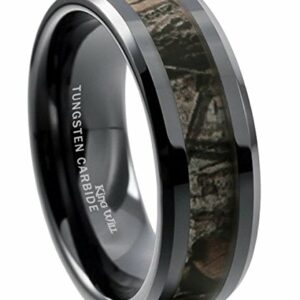 King Will 8mm Mens Black Tungsten Carbide Ring Camo Camouflage Comfort Fit Wedding Band (8)