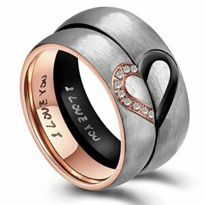 ANAZOZ His & Men's for Real Love Heart Promise Ring Stainless Steel Wedding Engagement Bands 6MM US Size 10