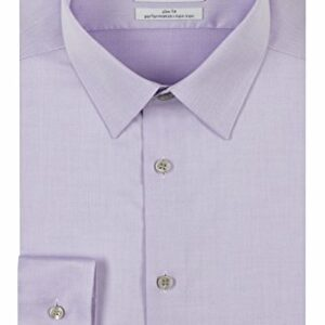 Calvin Klein Men's Dress Shirt Slim Fit Non Iron Herringbone, Lilac, 15.5″ Neck 34″-35″ Sleeve (Medium)