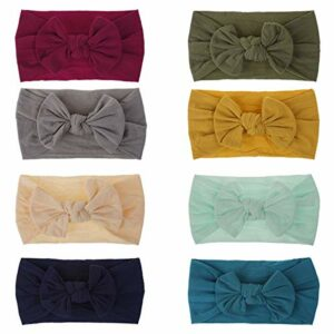 Baby Girl Nylon Headbands Newborn Infant Toddler Hairbands and Bows Child Hair Accessories (ZM19-8pcs)