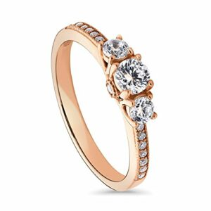BERRICLE Rose Gold Plated Sterling Silver Round Cubic Zirconia CZ 3-Stone Anniversary Promise Engagement Ring 0.57 CTW Size 8.5