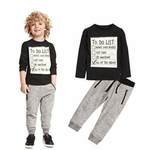 Jobakids Boys 2 Pieces Set Boys Cotton Clothing Set(Black,4T)