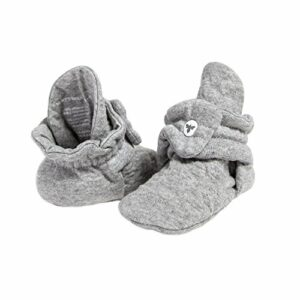 Burt's Bees Baby Unisex Baby, Boys Girls Quilted Booties, 100% Organic Cotton, Heather Grey, 6-9 Months