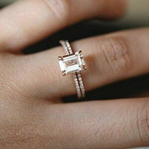 Finemall Cut Zircon Rings for Women Girlfriend Vintage Designed Rose Gold Small Square Zircon Ring Thin Promise Wedding Engagement Jewelry for Women Men (Size 6)