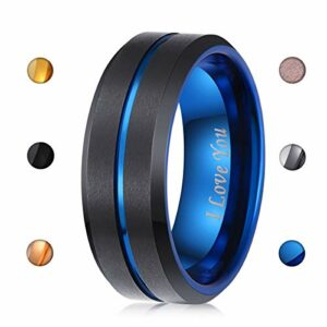 LaurieCinya 8mm Black Tungsten Carbide Wedding Band Blue Engagement Ring Men Women-Brushed Finished-Engraved I Love You Comfort Fit Size 6 to 13