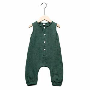 Arleysh Newborn Baby Girl Romper Jumpsuit Cotton Linen Sleeveless Ruffled Bodysuit Infant Summer Clothes Outfits (Green, 0-3 Months)