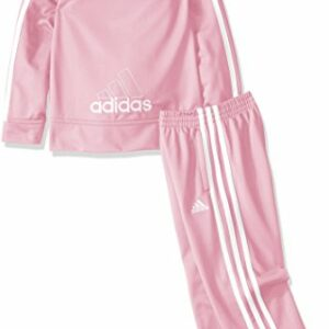 adidas Little Girls' Tricot Zip Jacket and Pant Set, Light Pink Basic, 6