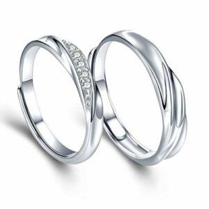 sassu fine Mens Womens Endless Love Silver Rings Adjustable Ring Swarovski Cubic Zirconia Wedding Ring Promise Ring Couples Ring
