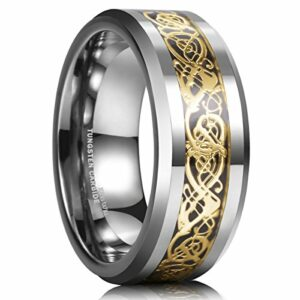 King Will DRAGON 8mm Gold Celtic Dragon Tungsten Carbide Mens Wedding Band Ring Comfort Fit 6