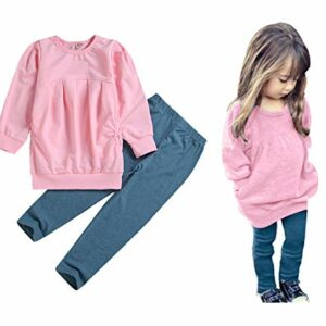 C&M Wodro Toddler Girls Clothes Winter Warm Long Sleeve Tops+Long Pants Set (Pink, 6T (5-6 Years))